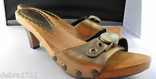 mieko mellucci Brazil 8.5 Bronze metallic mother of pearl slip on open toe shoes