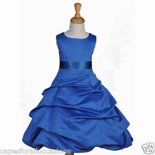 ROYAL BLUE PAGEANT QUINCEANERA NEW FLOWER GIRL DRESS WEDDING 2 4 6 8 10 12 14 16