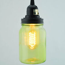 Light Lime Green Glass Mason Jar Pendant Light Kit, Wide Mouth, Black Cord, 15FT