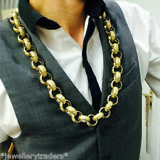 """MASSIVE """"15 oz"""" MENS SOLID KNUCKLE DUSTER BELCHER CHAIN 9CT GOLD ON 925 SILVER"""