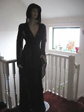 New Black Lace Hoodie Long Gothic Evening Wedding Halloween Coat Jacket One Size