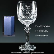 Personalised 10oz Cut Crystal Wine Glass Birthday Gift 27th 28th 29th 30th 31st