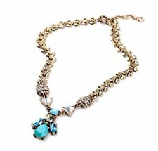 Fashion Long Chain Chunky Necklace Pendant Blue Turquoise Color Christmas Gift