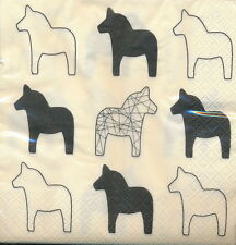 Table Napkins – Swedish Dala Horse, Black and Ivery