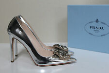 sz 10 / 40.5 Prada Metal Silver Embellished Patent Leather Pointy Toe Pump Shoes