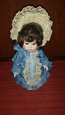 "9"" Porcelain AT Reproduction Doll with Blue Dress"