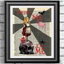 ART PRINT ON ORIGINAL ANTIQUE BOOK PAGE DICTIONARY Gothic Alice in Wonderland