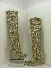 "Steve Madden ""Nikita"" Gold Sequin Tall Pointed Toe Evening Boots. Size 6.5"