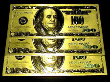 (3) 99.9% 24K GOLD $100 BILL US BANKNOTES IN PROTECTIVE SLEEVES LOT