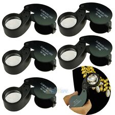5x Black 40 x 25 mm Jewelry Jeweler Glass Magnify Loupe Magnifier Loop LED Light