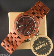 Men's Casual Wooden Watch Red Sandal Wood Roman Numerals Round Face Bewell 109R