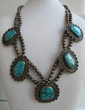 Exceptional red mountain Turquoise large stone  Navajo Necklace squash blossom