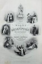Antico Shakespeare Print-Vittoriano Incisione su acciaio-pagina del titolo TRAGEDIE