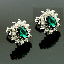 Silver Synthetic Oval Emerald Earrings Surrounded By Cubic Zirconias