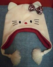 Hello Kitty Sanrio Knit Stocking Cap OSFM Tassels Embroidered Face 2010 Acrylic