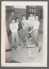 Vintage Snapshot Photo After School Detention Boys Sweeping w/ Brooms 699878