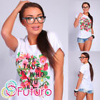 Casual T-Shirt Be True Print Crew Neck Short Sleeve Cotton Top Size 8-14 FB158