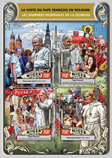 Niger 2016 MNH Pope Francis World Youth Day 4v M/S Pope John Paul II Stamps