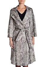 $3290 Oscar de la Renta Water Resistant Silk Trench Coat Jacket Fox Fur Print 4