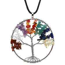 Amulet Crystal Quartz Tree of Life Pendant Necklace 7 Chakra Gemstone