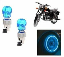 Skull Shaped Tyre Led Motion Sensor Blue Light for  Ducati Bikes Set Of 2