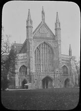 Glass Magic Lantern Slide WINCHESTER CATHEDRAL WEST FRONT C1890 PHOTO . UK