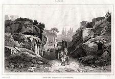 POZZUOLI: Necropoli Romana.Campi Flegrei. ACCIAIO.Stampa Antica.Certificato.1838