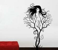 Sexy black hair Lady Dame Haar Frau Baum Wandtattoo Wallpaper Wand Schmuck 72 cm