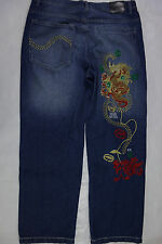 Ecko Unlimited denim blue jeans mens 38x33 embroidered red dragon baggy fit a23