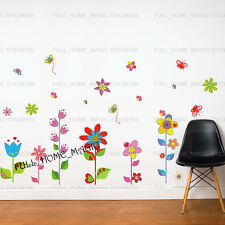 Flowers & Butterflies Wall Stickers Art Decal Girls/Kids/Childrens Room Decor UK