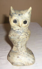 ~~ CUTE LITTLE SCREECH OWL ~~  CREAMS AND GRAYS  MARBLED  SCULPTED OWL