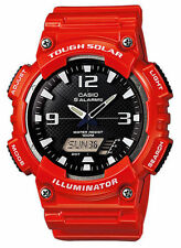 Casio Solar Analog/Digital Watch, Red Resin, 100 Meter, 5 Alarms, AQS810WC-4AV