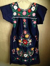 Vintage Boho Peasant Dress Hippie Ethnic Hand Embroidered Huipil Tunic Mexican