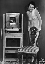1928 Nude model posing with 8 x 10 wooden view camera 8 x 10 Photograph