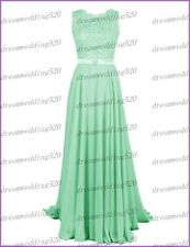 Long Chiffon Lace Evening Formal Party Ball Gown Prom Bridesmaid Dress Size 6-22