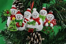 PERSONALISED CHRISTMAS TREE DECORATION ORNAMENT SNOW FAMILY OF 6