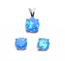 BEST SELLER! BLUE FIRE OPAL .925 Sterling Silver Earring & Pendant Set