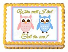 OWL BABY GENDER REVEAL party decoration edible cake image cake topper decoration