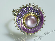 Barbara Bixby Sterling Silver 18k Gold Enamel & Gemstone Pearl Ring Size 8