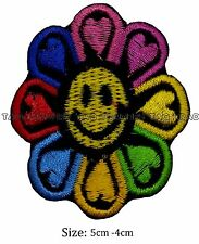 Smiley face flower heart  iron sew on patch embroidered #124