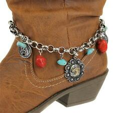 SILVER GOLD RHINESTONE HORSE TURQUOISE WESTERN COWGIRL BOOT STRAP ANKLET JEWELRY