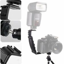 Dual Hot Shoe Flash Bracket Mount For Video Camera Microphone LED Light DV DSLR