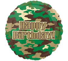 """Camo Happy Birthday 17"""" Balloon Army military camouflage hunting party"""