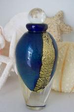 MINT Eickholt Art Glass Perfume Bottle~Dauber Intact~Signed~2004~Gold Leaf~LARGE