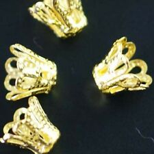 100Pcs Wholesale Gold Plated Cup Bead Caps Jewelry Findings 8mm