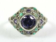 1ctw Natural Amethyst and Opal Victorian Deco Sterling Filigree Ring s8 119b
