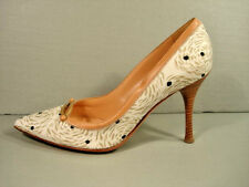 SERGIO ROSSI Beige Leather Swirl Pattern Point Toe Heels Pumps 37/7 Discount New
