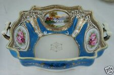 ANTIQUE NIPPON BOWL,RAISED GOLD,SKY BLUE,HAND PAINTED ROSE,LANDSCAPE,HANDLED
