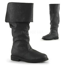 Black Mens Tall Pirate Boots Fold Over Renaissance Fair Costume Cosplay 12 13 14