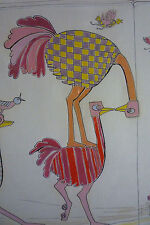 Original Vintage Painting Ink Drawing Pop Art Ostrich Race Signed SHOEmaker